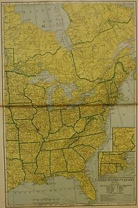 LARGE-1906-Antique-Map-EASTERN-UNITED-STATES-amp-CANADA-Map-CHROMOLITHOGRAPH