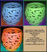 Partylite Waves Pierced Ceramic Mini Hurricane Candle Holder U Pick Color