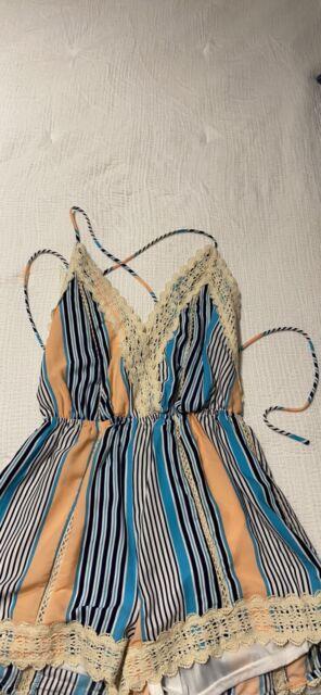 Illa Illa Women's Romper Stripes V-Neck Open Back Size S Embroidered Boho