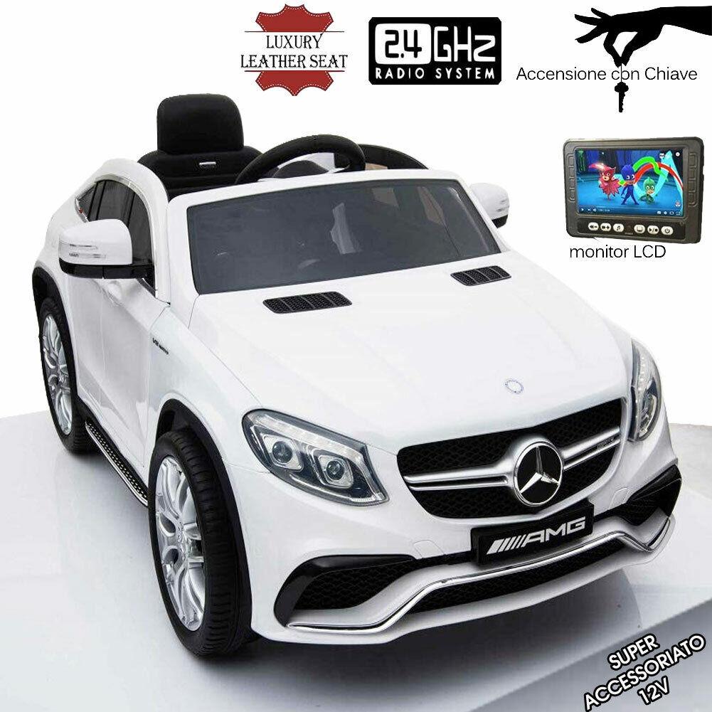 Auto  Elettrica Bambini Mercedes GLE63 Schermo Telecouomodo MP3 Sedili Pelle Bianc  vendita outlet