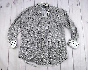 Nick-Graham-Casual-Shirt-Black-White-Hypnotic-Pattern-Flip-Cuff-Men-Size-XL