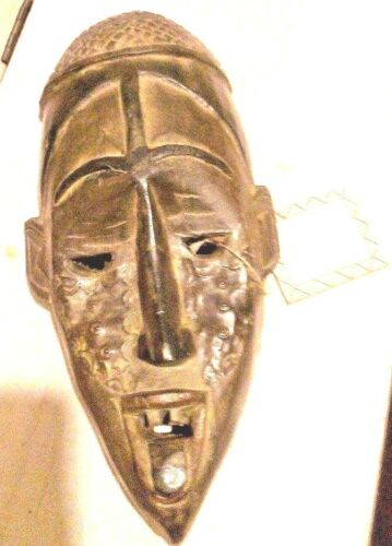 "African tribal Mask handcrafted WOOD art Made in Ghana 14"" tall 6""width"