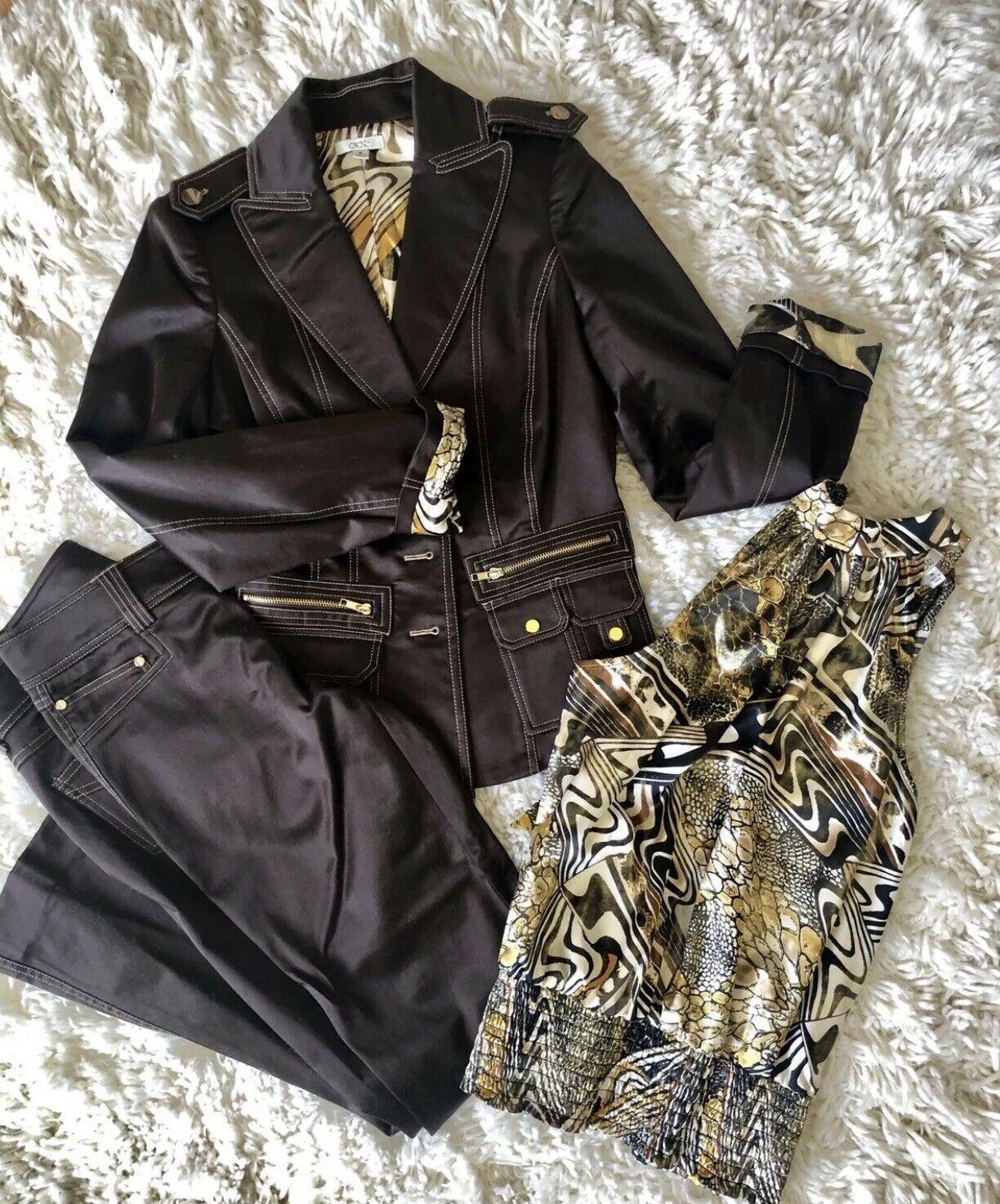 Cache Contour Satin Brown Suit Blazer XS Pants 2 top XS 3 Pcs  Pucciesque Lining