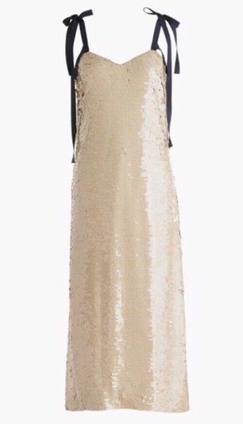 NWT JCREW  Collection tie-shoulder sequin dress Size8 G5352 Desert Canyon