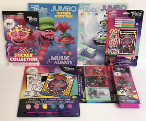 7 Pc Trolls World Tour Gift Set Coloring Book Crayons Markers Art Stickers Paint