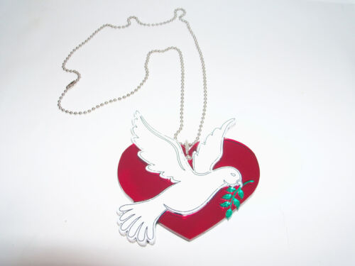 Cool Necklace Comes with Ball n Chain Necklace Dove and Heart Fun