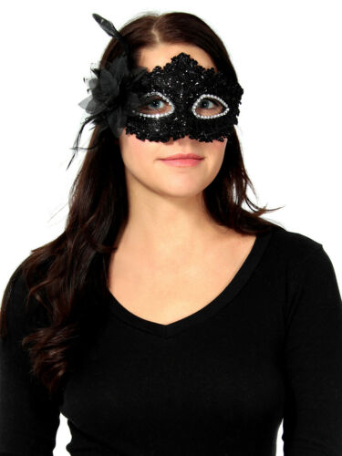 Ladies Lace Rhinestone Party Ball Masquerade Masks With Paillette Flower Mask