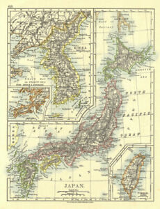 "Johnston 1906 Map Shrink-Proof Supply Corea Japan Formosa Hachijo ""penal Settlement"" Korea Taiwan"
