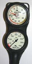 Analoge 2er Konsole Finimeter 300bar und Tiefenmesser Combo mit Befestigungsösen