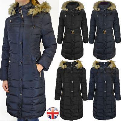 Hell Ladies Womens Plus Fur Hooded Quilted Padded Winter Coat Puffa Parka Jacket Halten Sie Die Ganze Zeit Fit