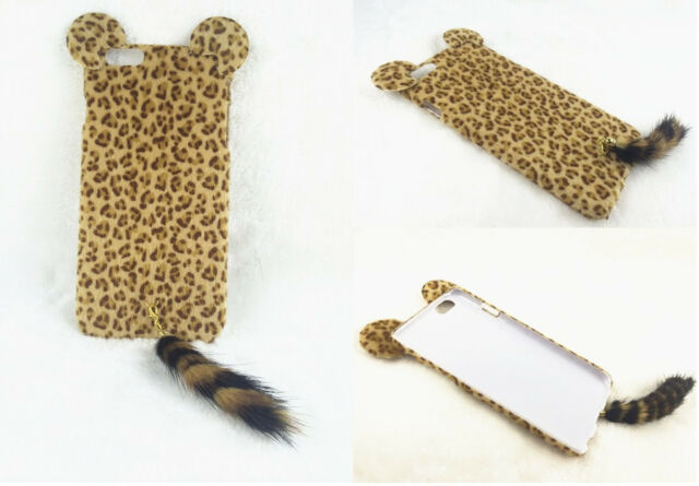 Lovely 3D Cute Charming Plush Leopard Ear Tail Case Cover for Various Phone 1