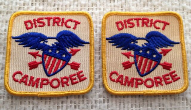 """Vintage DISTRICT CAMPOREE Patch 3/"""" Eagle with Shield BSA Boy Scouts TH125"""