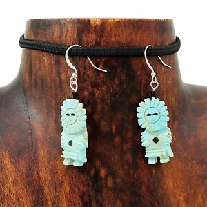 Artisan-Hand-Carved-Turquoise-Sun-Kachina-Earrings
