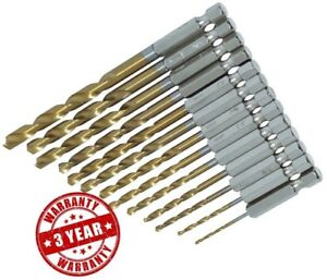 13PC-TITANIO-HSS-Set-Punte-Trapano-Rivestito-1-4-034-Hex-Gambi-1-5mm-6-5mm-Bit-AMTECH