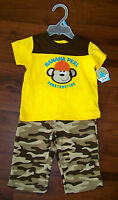 Boys Child Of Mine 2pc Brown Yellow Camouflage Construction Monkey Outfit
