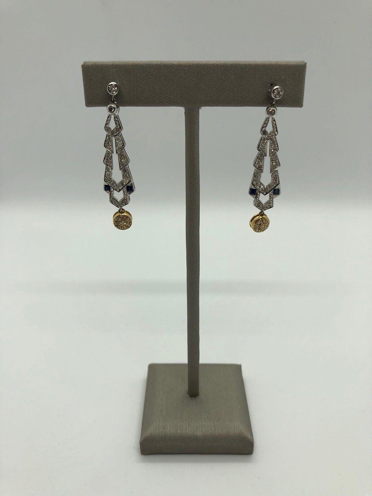 18k Multi-tone gold Diamond Earring  6.57 Gr.