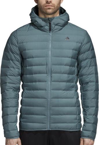 adidas Mens Down Jacket Green Full Zip Hooded Lightweight Winter Coat