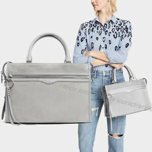 NWT-348-Rebecca-Minkoff-Bedford-Zip-Suede-Leather-Satchel-Perla-Grey