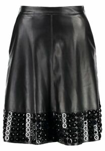 Lost-Ink-Embellished-Hem-Black-PU-Flare-Skirt-UK-Ladies-Size-16-New-with-Tags