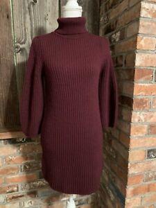 Massimo-Dutti-Roll-Neck-Plum-Italian-Knit-Dress-With-Sleeve-Detail-Size-XS