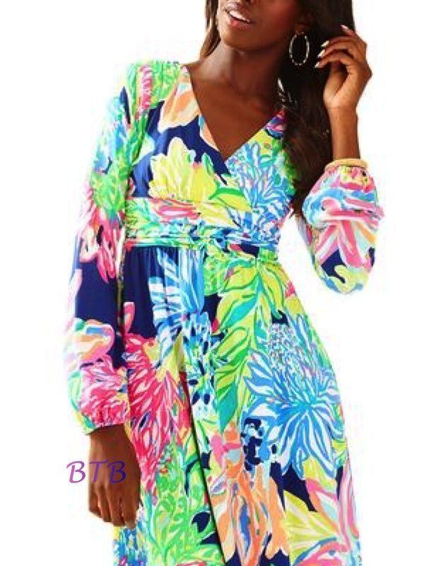 d60b6a55351504 Lilly Pulitzer Fleur Dress Resort Navy Travelers Palm Medium for ...