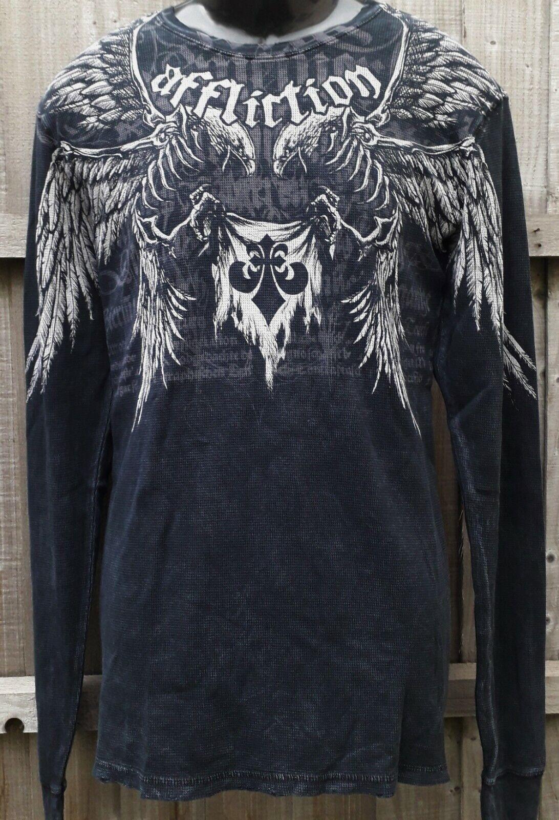 AFFLICTION BIRDS OF PREY XL Medieval Script Skeleton L S T Shirt New UFC Tee