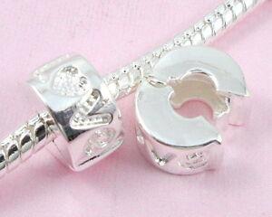 10pcs-Silver-P-Love-Clip-Lock-Stopper-Beads-Fit-European-Charm-Bracelet-K10