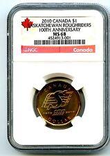 2010 CANADA $1 SASKATCHEWAN ROUGHRIDERS NGC MS68 DOLLAR LOON LOONIE TOP POP=1