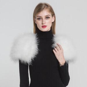 709307142f192 Image is loading New-Ostrich-Feather-Fur-Poncho-Wrap-Wedding-Bridal-