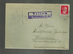 1941 Rollow Germany Cover to Warsaw Poland with Letter Content