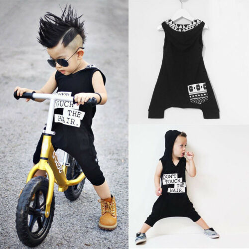 UK Newborn Baby Kids Boys Hooded Romper Jumpsuit Playsuit Clothes Outfit 0-3Y KW