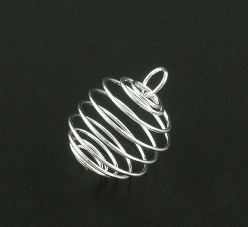 20 Colgantes Hallazgos jaulas de grano de espiral 25 25x20mm