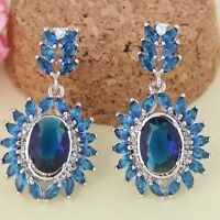 Navy Blue Crystal Stud Dangle Drop Earrings Prong Setting WHITE GOLD PLATED