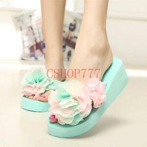 a591bc63b9375 New Hot Sale Womens flower flip flops slipper wedge Beach sandals ...