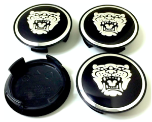 Jaguar-Schwarz-Alter-Stil-4-x-58mm-Alufelge-Nabenkappen-Nabendeckel-Satz-Cap