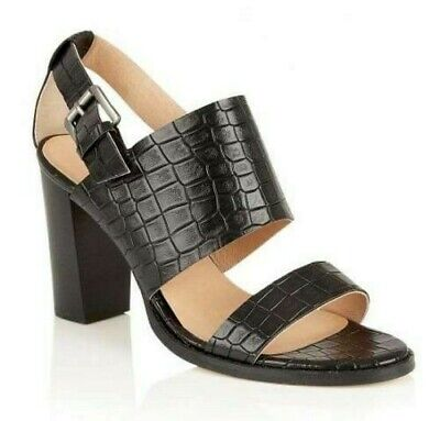 Ravel Glide Womens UK 3-6 Black Croc Print Leather Lined High Heeled Sandals