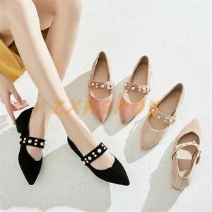NEU-Spitz-Zehe-Damen-Slipper-Loafers-Mit-Perlen-Flach-Ballerinas-Gr-33-43