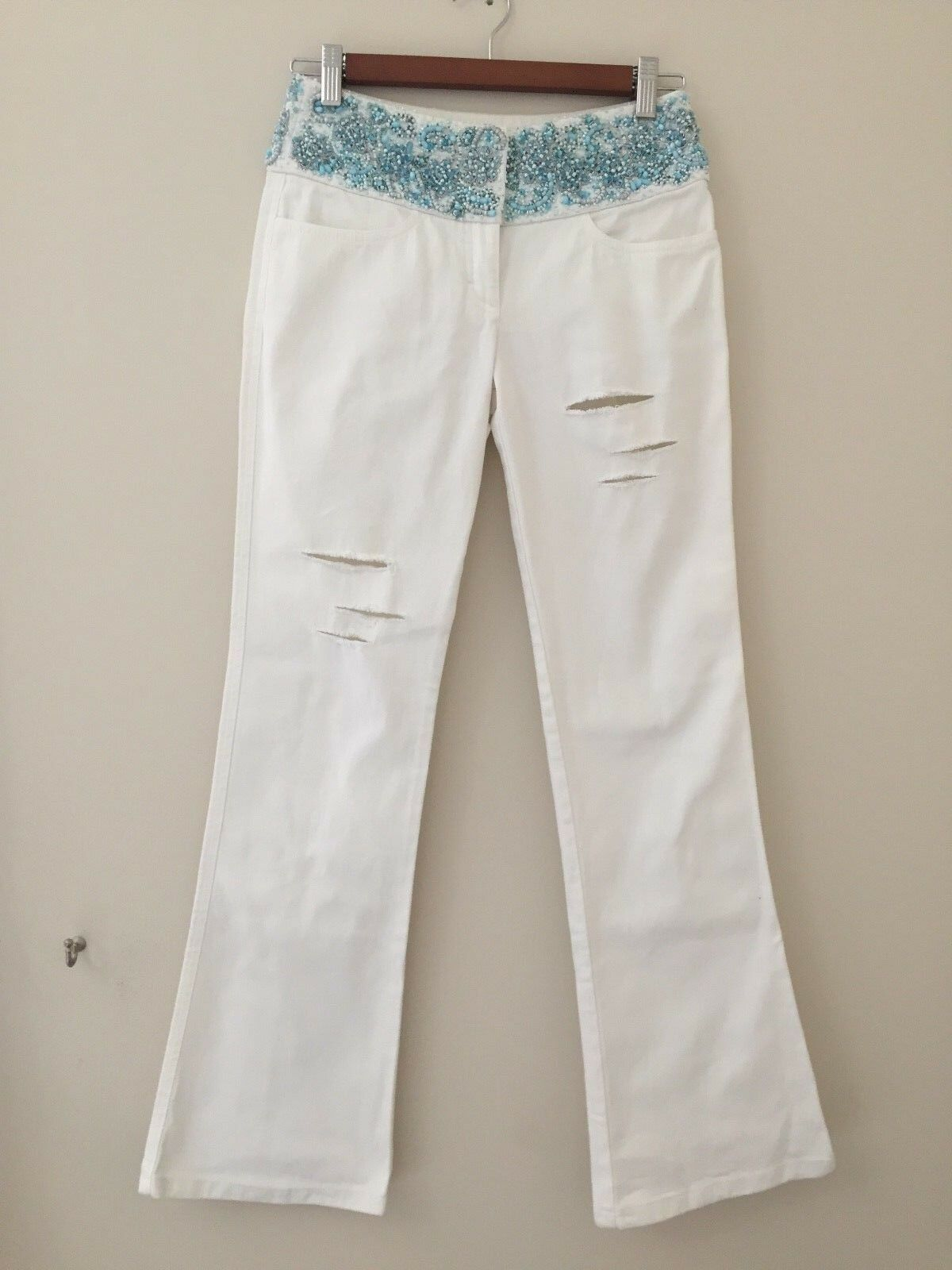 Escada beautiful white summer beaded embroidered jeans size 32 XS