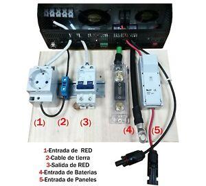 Preinstalacion del Kit Solar para 3000va 24v protección y conectores