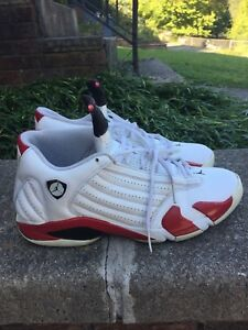 the best attitude 1576f 4a8e4 Details about Nike Air Jordan Retro 14 XIV OG Cherry Candy Cane Size 12  White Red 1999