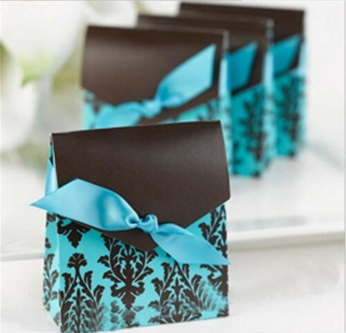 10//100pcs Laser Cut Favor Candy Gift Boxes Bag Wedding Party Baby Shower Ribbon