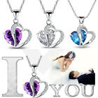 Beauty 925 Sterling Silver CZ 2 - Heart Lady Fashion Necklace Pendant Stone New
