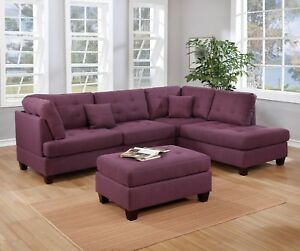 Phenomenal Details About Modern Reversible Sectional Sofa W Ottoman Pillow 3Pc Set Warm Purple Polyfiber Cjindustries Chair Design For Home Cjindustriesco