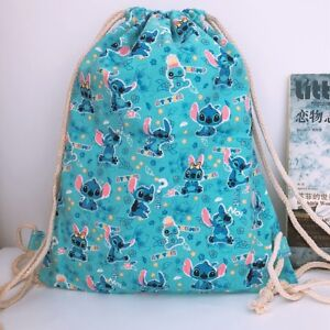 Image is loading Lilo-amp-stitch-blue-canvas-drawstring-backpack-shoulder- 2188c9377d997
