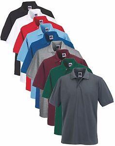 Russell-Mens-Mans-Plain-Polycotton-Polo-Golf-Sports-Shirt-S-6XL