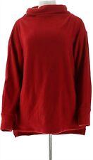 Cuddl Duds Fleecewear Mock Neck Pullover Top Deep Red XL NEW A293094