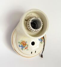 Antique Porcelain Wall Light Fixture with Flowers Vintage 1920's Parts or Repair