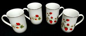 OTAGIRI-034-Strawberry-Blossom-034-COFFEE-CUP-MUG-WHITE-PORCELAIN-RED-BERRIES-VINTAGE