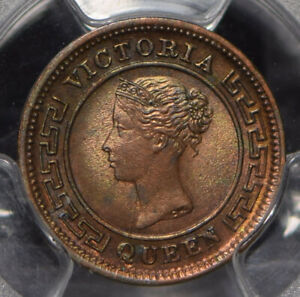 Ceylon-1901-1-4-Cent-PCGS-MS63RB-blue-green-toning-PC0823-combine-shipping