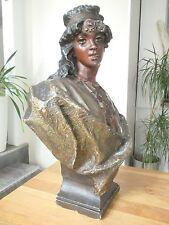 Grand buste femme orientaliste plâtre polychrome -  20452